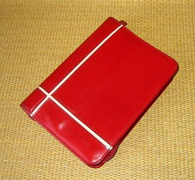 Compact Franklin Covey Red Faux Leather 1.25 Rings Zip Plannerbinder