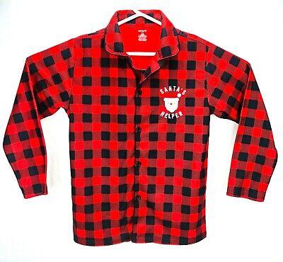 Carters Adult Christmas Red Plaid Pajamas Shirt Santas Helper Sz Small Unisex