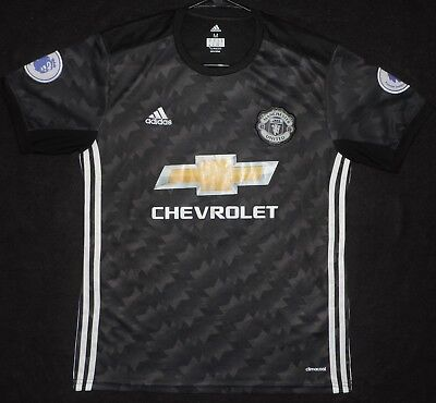 Paul Pogba  6 Manchester United Adidas 17 18 Away Jersey Kit Black Mens Medium