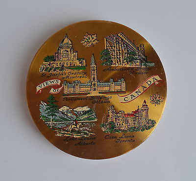 Vintage COMPACT Views of Canada Painted Touristic Attractions Circular Shape XL