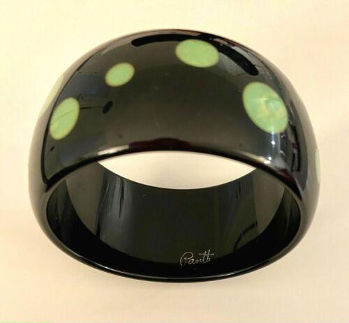 Rare Pantti Wide Black Bakelite Bangle Bracelet with Green Dots 1990s