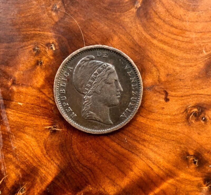 Rare 1852 VENEZUELA 1/4 CENTAVO Coin XF Appears AU High 50's+