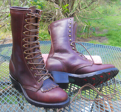 "DOUBLE H Brown Leather 9"" Western Packer Boots Lace Up Kiltie Roper Womens 7M"