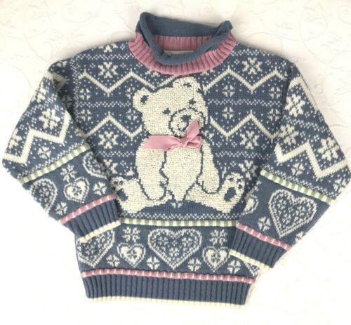 Vtg 80s Fairy Kei Kawaii Sweater Pastel Texture Bear Girls Sz S Made in USA