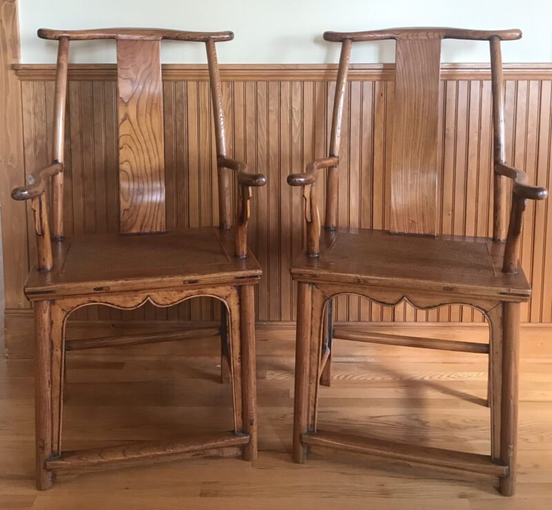 Pair of Antique Chinese Scholar Head Armchairs (Qing Dynasty-mid 19th Century)