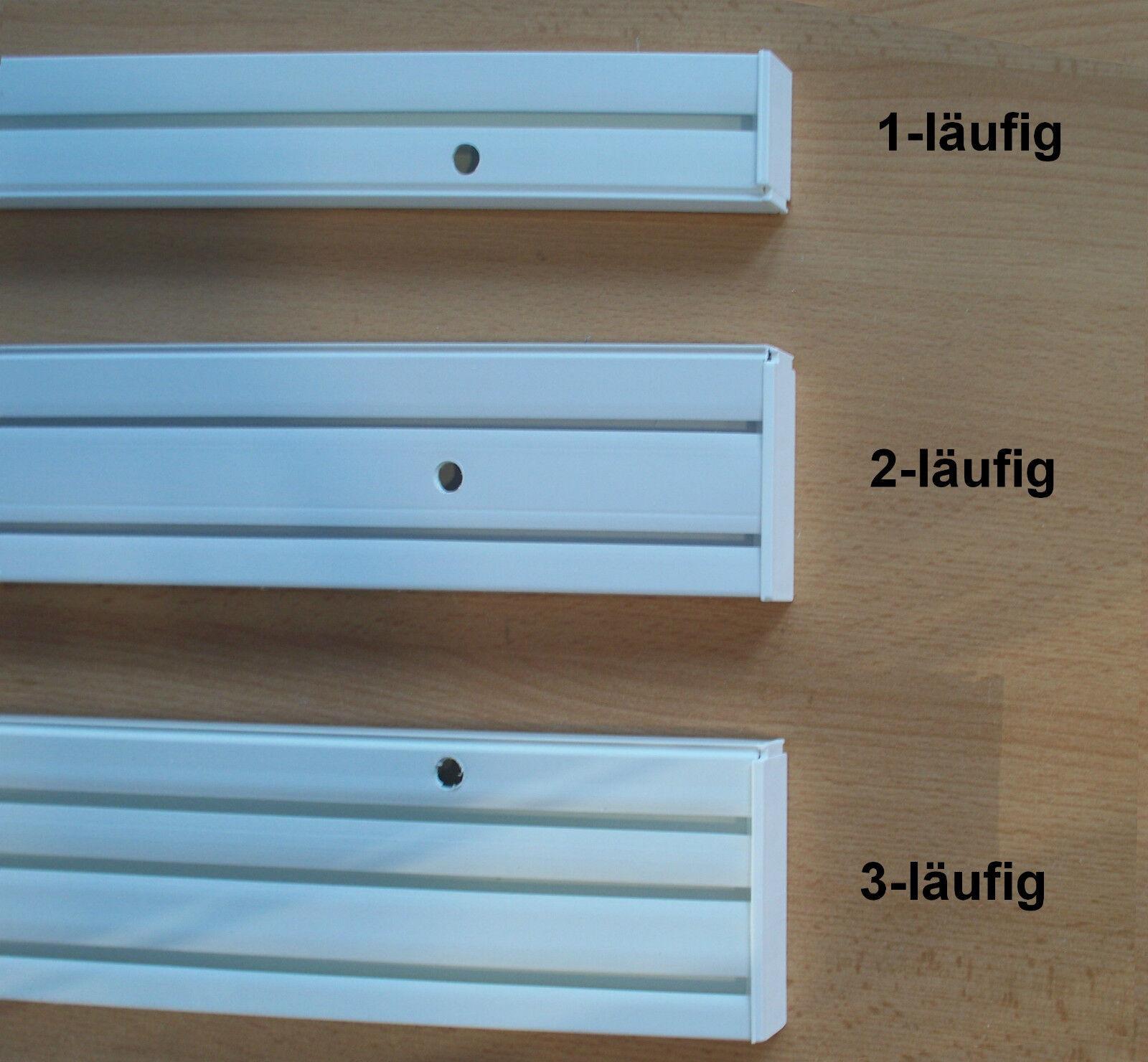 Gardinenschiene Vorhangschiene 1/2/3-Lauf, Innenlaufrollen, U-Verbinder, Deckel