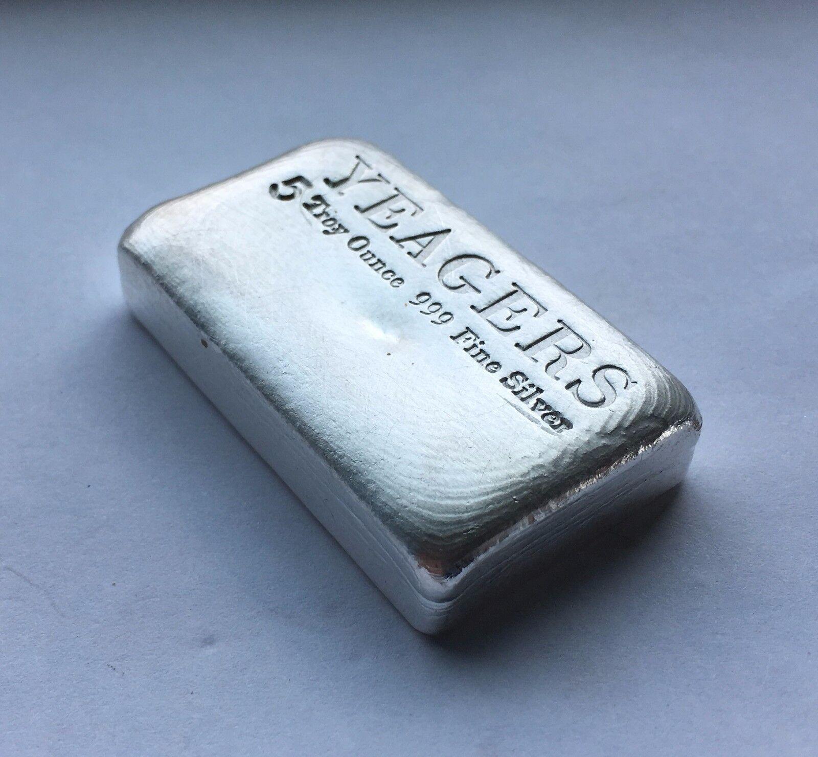5 oz Hand Poured 999 Silver Bullion Bar by YPS (Bare Bones)