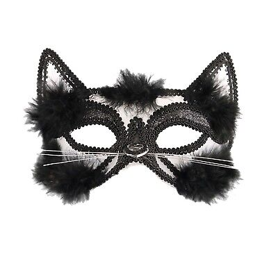 Adults Cat Eye Glitter Face Mask with Fur Unisex Halloween Party Dress Accessory](Halloween Cat Faces Adults)