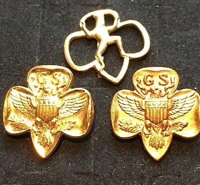 Vintage Brownie Girl Scout Elf Membership Pin Pins Lot Of 3 Very Old Clasps