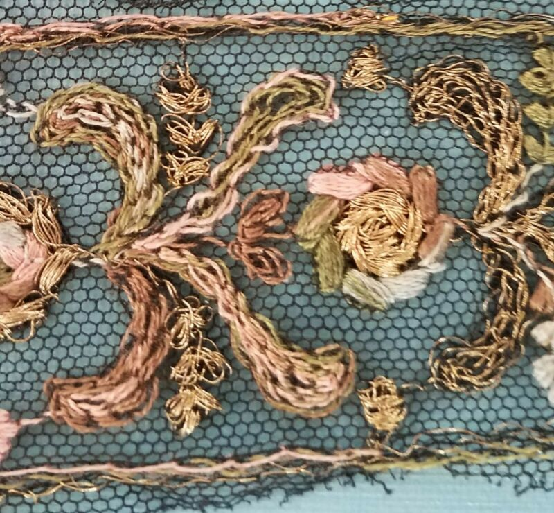 Rare Antique Tambour Lace Trim Black Net Gold Metallic Pastel Color Embroidery