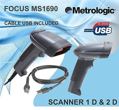 Barcode Scanner - Metrologic Ms 1690 Focus Usb Cable Read 1d 2d
