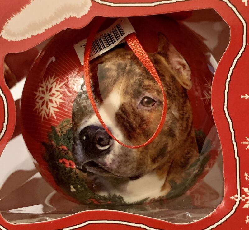 """NEW IN BOX 3"""" SHATTERPROOF BALL BRINDLE WHITE PIT BULL DOG  CHRISTMAS ORNAMENT"""