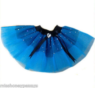 Baby Girl Toddler Neon Tutu Skirt 80s Fancy Dress Party Blue Diamante Sparkle   - Diamant Kostüm Kinder