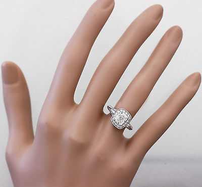 GIA G-SI1 14K WHITE GOLD CUSHION CUT DIAMOND ENGAGEMENT RING DECO 1.70CTW 1