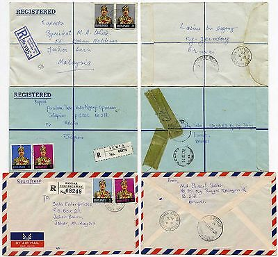BRUNEI to MALAYSIA 3 ENVELOPES AIRMAIL + REGISTERED 1975-6