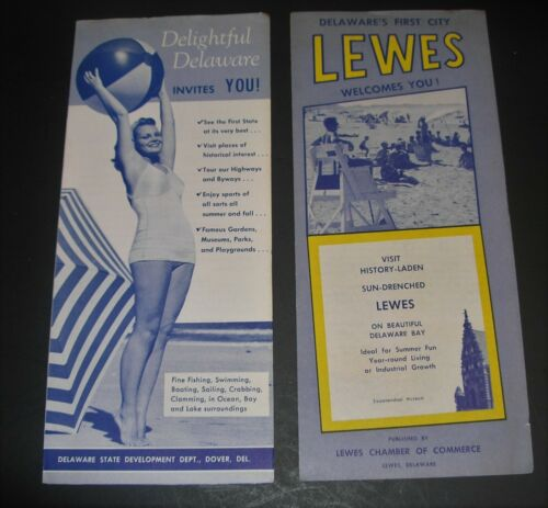 2 Delaware vintage travel brochures Delightful Delaware Lewes cheesecake