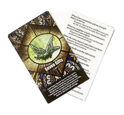 """GIFTS OF THE HOLY SPIRIT / CONFIRMATION - Large 5"""" x 3"""" Prayer Card"""