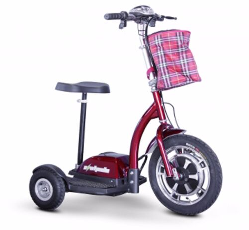 Red 3 Wheel Scooter, You Can Sit Or Stand To Ride, 300 Lb Cap, 15 Mph, 20 Miles