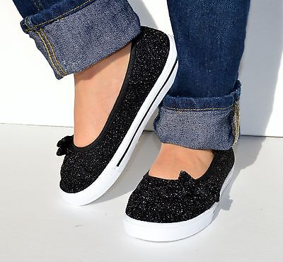 Girls Kid Glitter Ballet Lace Less Slip on Bow Casual Sneaker Shoes Sparkle Flat - Glitter Shoes Girls