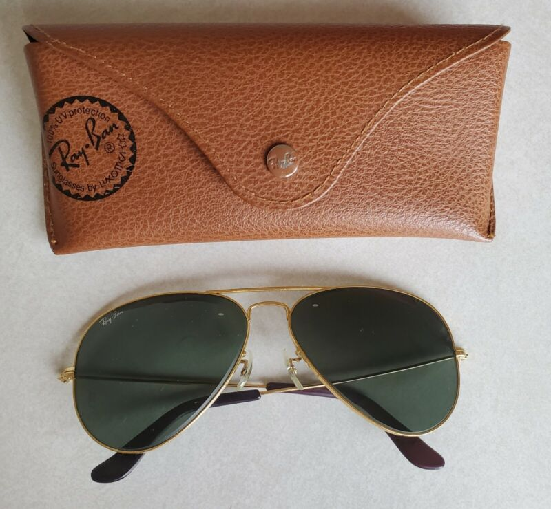 Vintage Bausch & Lomb Ray-Ban Aviator Sunglasses Gold / Green 58-14