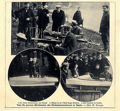 Vom III. grossen Wettrennen der Miniaturboote zu Paris Siegerboot Le Girard 1906