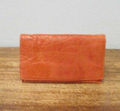 LATICO USA Vintage Orange Distressed Leather Fold Over Wallet Clutch ROG Latico Vintage Clutch