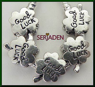 5 Good Luck Four Leaf Clover Spacer Charms European 12   15 Mm   5 Mm Hole S220
