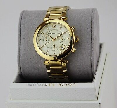 NEW AUTHENTIC MICHAEL KORS PARKER GOLD CRYSTALS CHRONOGRAPH WOMEN'S MK5701 WATCH