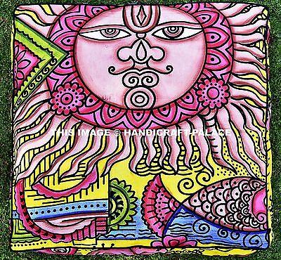 "Indian Mandala Floor Pillow Sun Fish Meditation Cushion Cover Dog Bed Square 35"""
