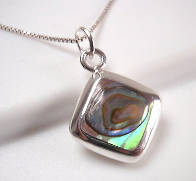 Reversible Abalone and Mother of Pearl 925 Sterling Silver Square -