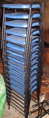 Set 14 Vintage blue plastic adult cafe bistro stacking stools 20