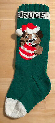 """Vintage Christmas Green Red Hand Knit Puppy Dog PersonalIzed BRUCE Stocking 20"""" ()"""