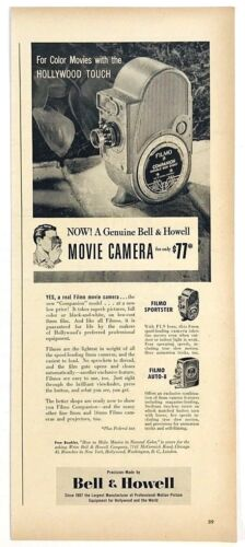 Original 1940s Print Ad Bell And Howell Movie Camera Filmo Sportster Auto 8 1948