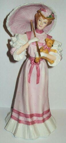 Vintage Gorham Porcelain Woman * At The Fair * Parasol Dress Umbrella Bear