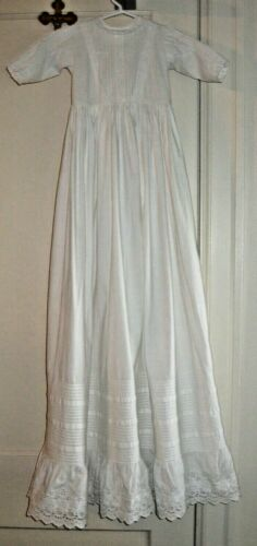 "HEIRLOOM 41"" Hand Made Cotton CHRISTENING Gown Pin Tucks Insertion Eyelet Lace"