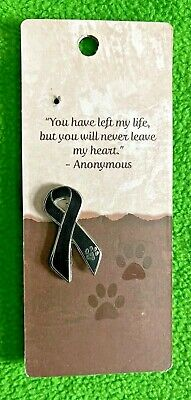 Death Of A Pet Loss Black Ribbon Lapel Pin - Paw Print Logo - CA$12.99