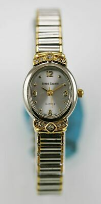 Womens Times Square (Times Square Watch Womens White Stainless Silver Gold Stretch Water Res Quartz)