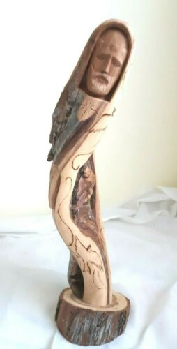"""Signed Jacob Salazar NM Taos Wood Carved Detailed St. Francis Statue Kachina 15"""""""