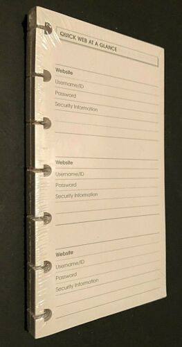 "Quick Web Website At A Glance Refill White 6 3/4"" x 3 3/4"" New"