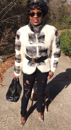 New Empress Chinchilla & Cream White Mink Fur Coat Jacket Bolero Stroller S 0-4
