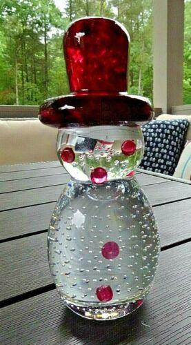 "1996 Gibson Art Glass Bullicante Bubble SNOWMAN Figurine Cranberry 6"""