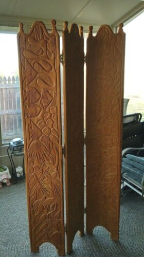 7ft SOLID OAK HANDCARVED 3 PANAL ROOM DIVIDER  Privacy Folding Screen-FISH THEME
