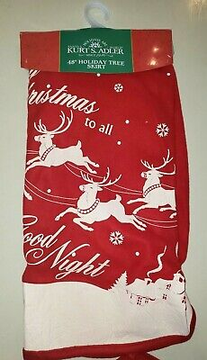 NEW NWT RED CHRISTMAS TREE SKIRT 48 INCH VINTAGE LOOK REINDEER to all a good nig