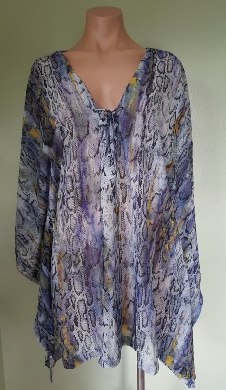 Rachel Roy chiffon snake print grey swimsuit Cover up tunic size S