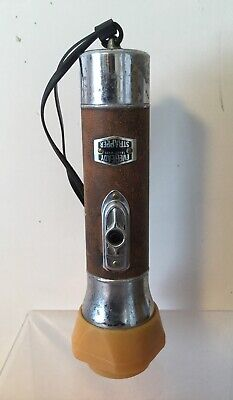 RARE Vintage Eveready Strapper Flashlight Leather USA Glass Bullet Bakelite