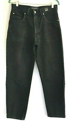 VERSACE Jeans Couture Vintage Black Denim Tapered Leg Woman Size 32 48  30x28