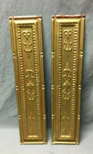 "Lot of 2 Antique Gold Tin Metal Ceiling 5""x24"" Crafts Art Projects Vtg 277-20B"