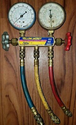 Yellow Jacket Flutterless R22 R12 R502 Hvac Manifold Gauges Free Shipping