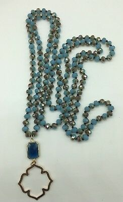 holiday gift long Knotted  Tribal Glass Crystal  pendant Necklace Woman -