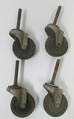 Lot Of 4 Casters Rubber Wheel 2 78 Diameter Swivel Threaded Metal Post 2
